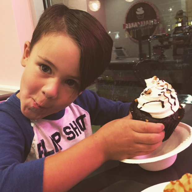 It ain't a Saturday night party unless you eat a chocolate lava cupcake the size of your dome. (At least if you're 5.) Thank you, Smallcakes Cary, for sending my kiddo on a
