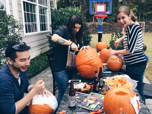 Note to self: Next time, hire pumpkin carvers to do the hard labor for you.